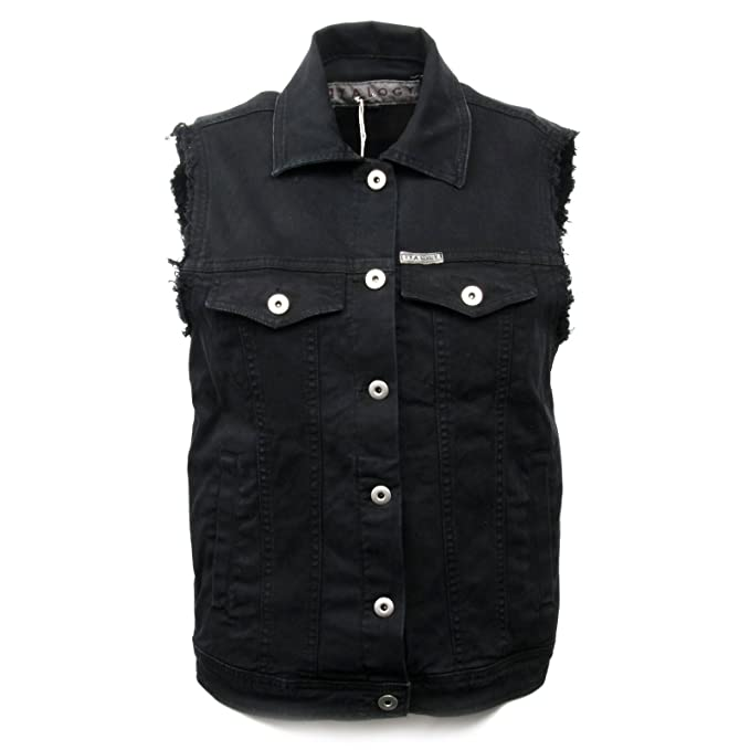 483c29d1ff C0194 gilet jeans donna ITALOGY nero jacket woman: Amazon.it ...