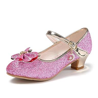 922edb010a6c0 YIBLBOX Kids Girls Mary Jane Low Heel Shoe Glitter Sequin Bowknot Princess  Dress Shoes