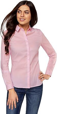 oodji Ultra Mujer Camisa Entallada Básica: Amazon.es: Ropa y accesorios