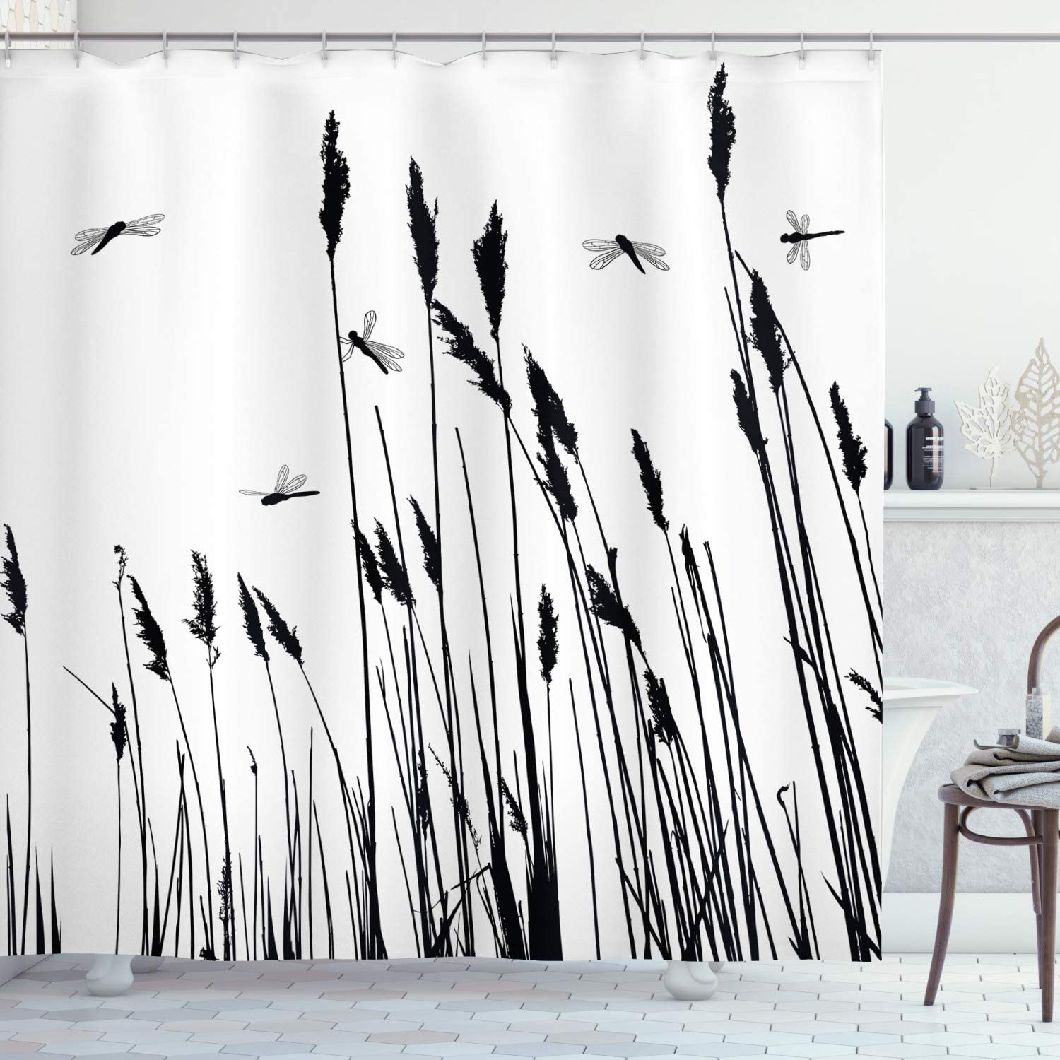 Ambesonne Dragonfly Shower Curtain, Wheat Field Autumn Agriculture Background Nature Harvest Bush Herbs Theme Art, Cloth Fabric Bathroom Decor Set with Hooks, 70
