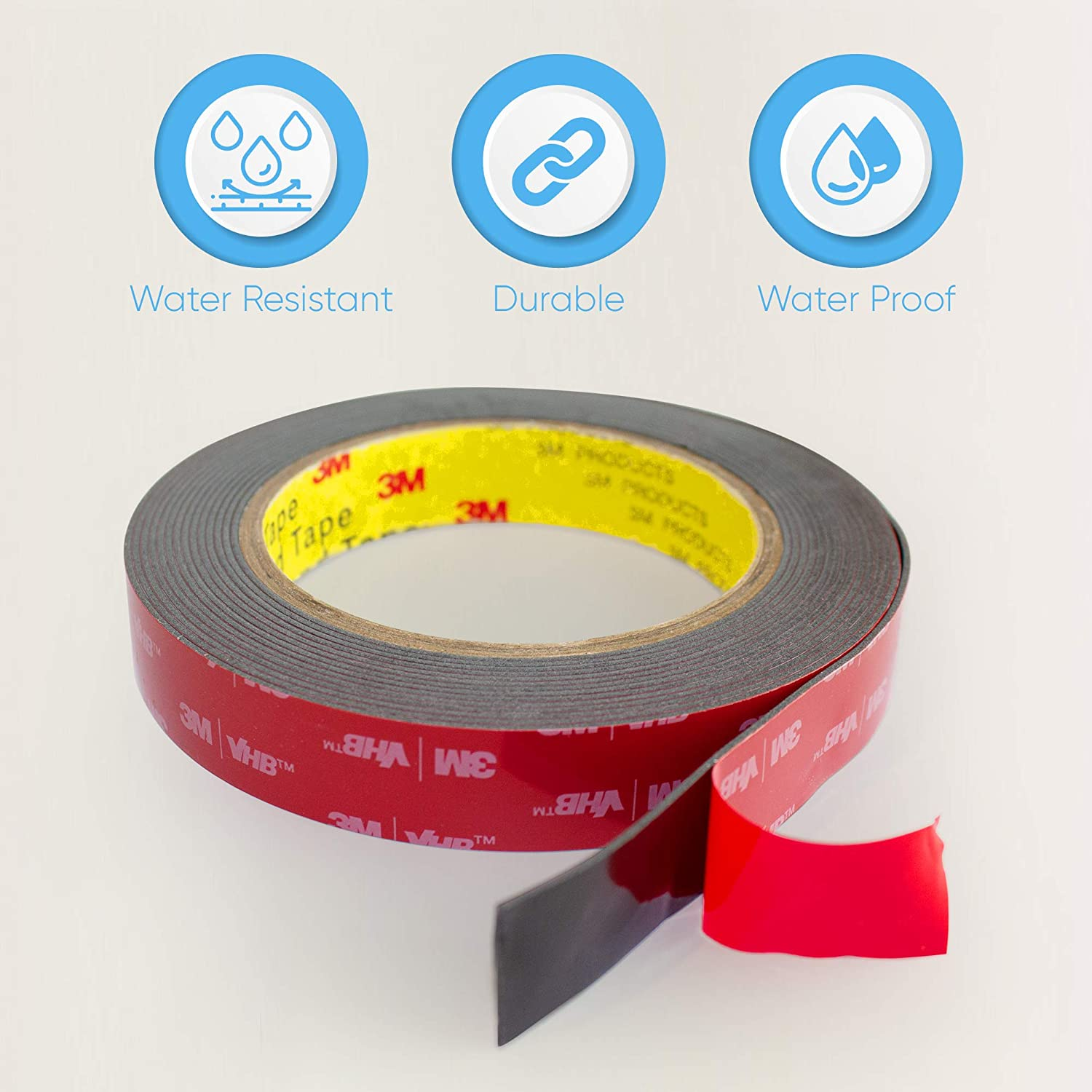 Super Strong Foam Tape for Outdoor and Indoor 3M Double Sided Tape HPP Heavy Duty Mounting Tape Converted from 3M VHB 5952, 0.25in x 15ft