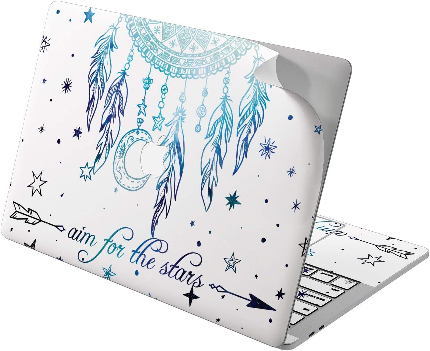 "Cavka Vinyl Decal Skin for Apple MacBook Pro 13"" 2019 15"" 2018 Air 13"" 2020 Retina 2015 Mac 11"" Mac 12"" Laptop Dreamcatcher Stars Sticker Boho Cover Colorful Protective Feather Design Purple Print"