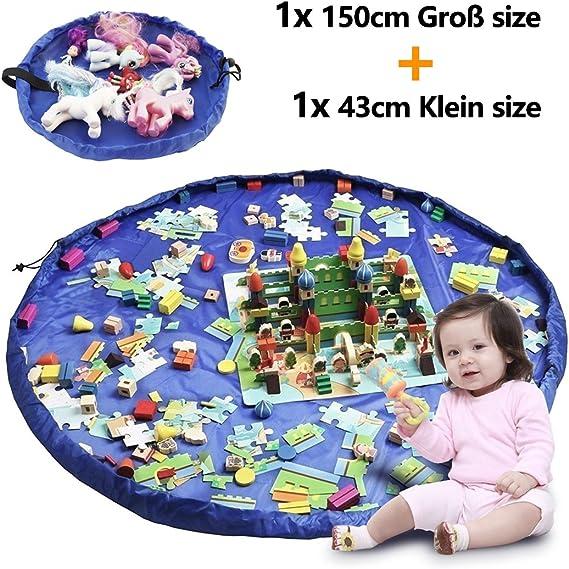2er Set Kinder Aufräumsack, XXL Baby Spieldecke Spielsack Spielzeugteppich  Spielzeug Beutel, Spielmatte Speicher Tasche Aufbewahrung Beutel ...