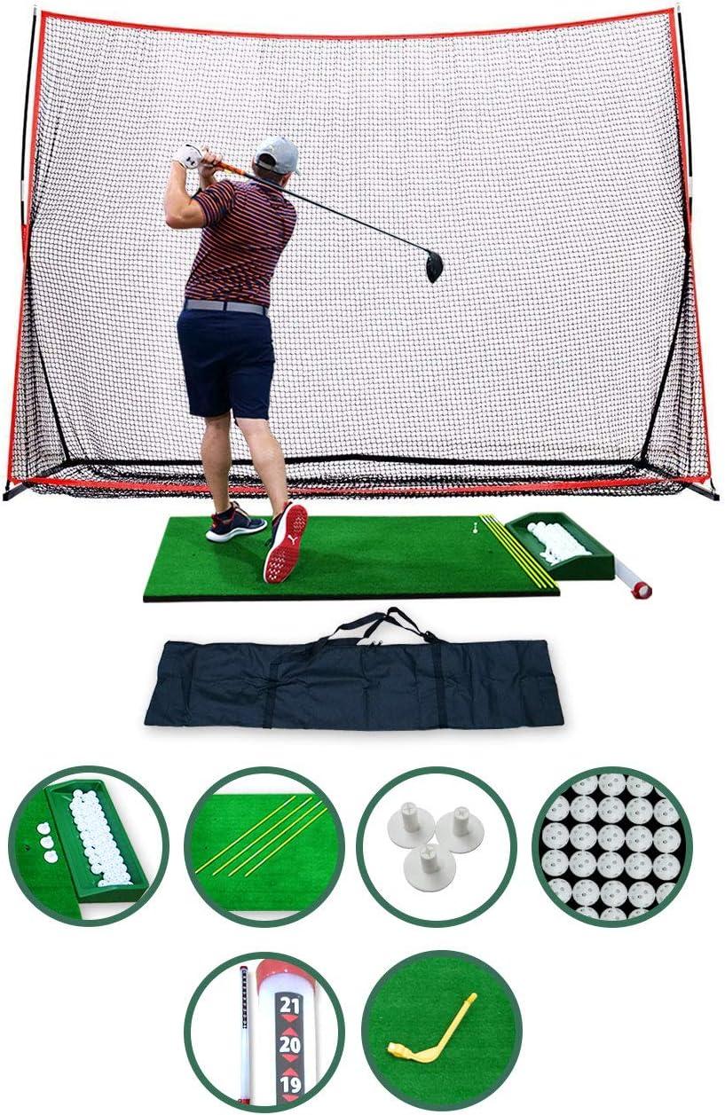 SharperGolf Complete Home Driving Range Golf Net and Mat Combo, 10x7ft Golf Hitting Net, 3x5ft Golf Hitting Mat, Carry Bag, Accessories, Golf Training Set Indoor Outdoor