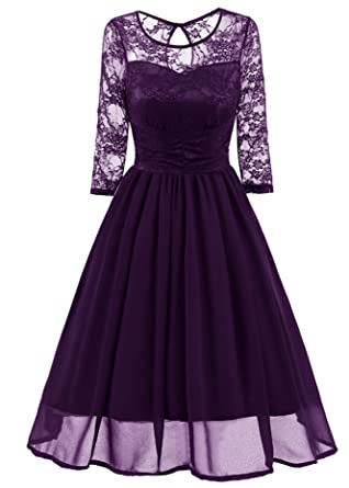 WLITTLE Womens Dresses 3/4 Sleeve Lace Evening Dresses, Women Vintage Lace Formal Patchwork