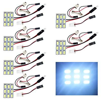 EverBrightt 6-Pack Cool White 5730 9SMD Led Panel Dome Light Auto Car Reading Interior Light DC 12V with T10 / BA9S / Festoon Adapters: Automotive