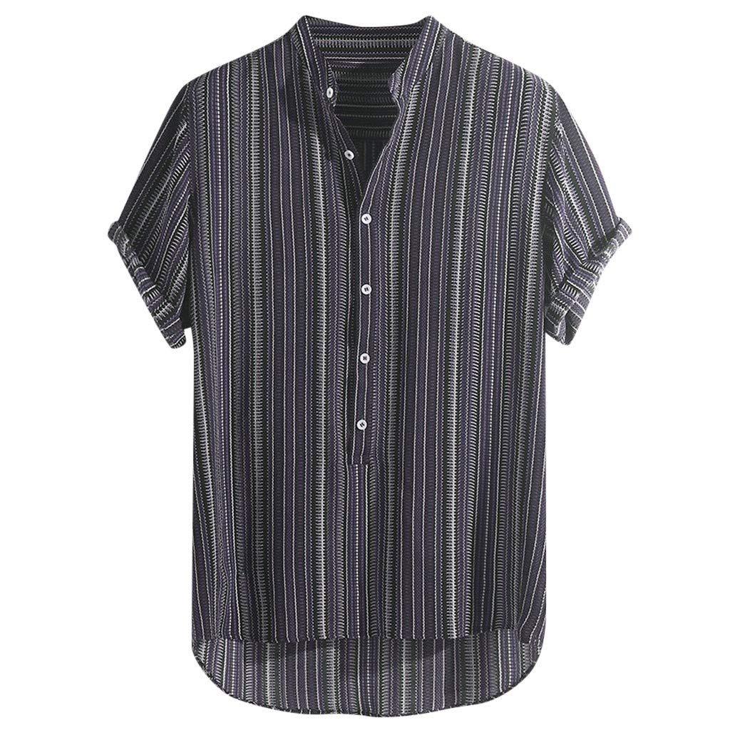 haoricu Summer Mens Short Sleeve Shirts Linen Cotton Button Down Fishing Striped Tees Plain Summer Shirts Purple by haoricu