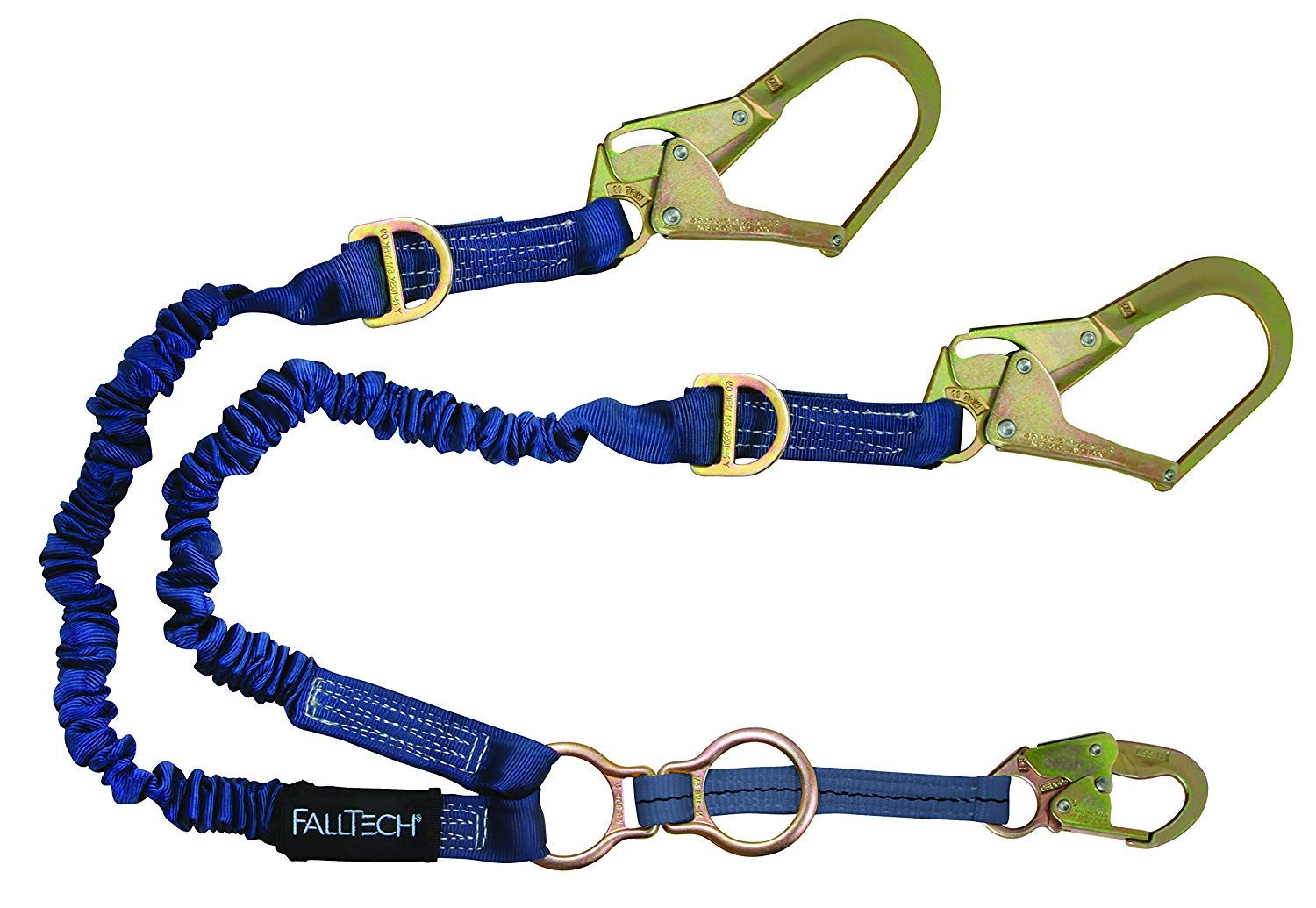 FallTech 8240Y32D2R ElasTech Lanyard-Adjustable Y-Leg, 1 Snap Hook, 2 Rebar Hooks, 1 D-Ring for SRL Attachment/2 Rescue D-Rings, 4' to 6', Blue