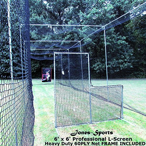 L-Screen 6' x 6' Professional Baseball Safety Frame & Heavy 60ply Net L Screen by Jones Sports