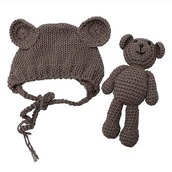 c5459cddef3 Amazon.com   Tangc Newborn Baby Girl Boy Photography Prop Photo Crochet  Knit Costume Bear +Hat Set (Brown)   Baby