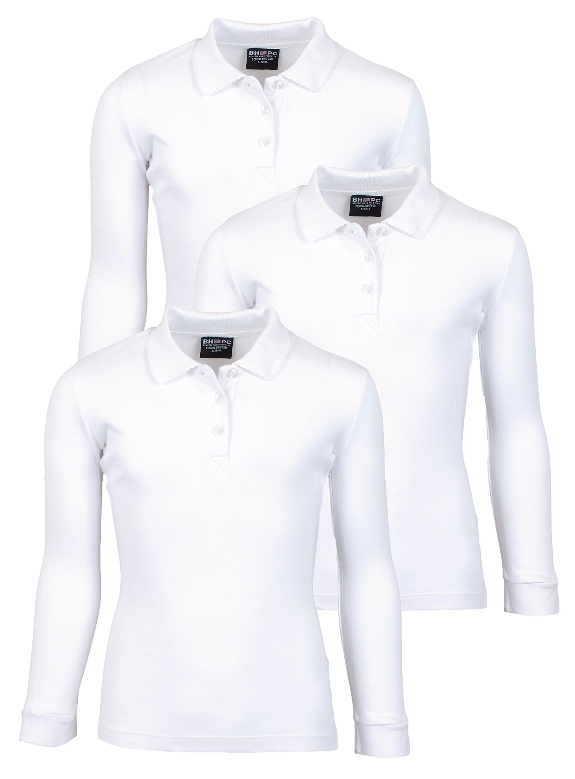 Beverly Hills Polo Club 3 Pack of Girls' Long Sleeve Interlock Uniform Polo Shirts, Size 14, White' by Beverly Hills Polo Club