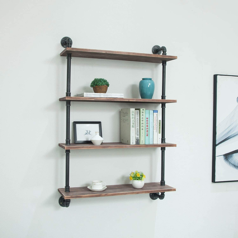 FODUE Industrial Pipe Shelving Bookshelf Rustic Modern Wood Ladder Storage Shelf 4 Tiers Retro Wall Mount Pipe Design DIY Shelving