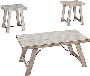 Signature Design by Ashley - Carynhurst Farmhouse 3-Piece Table Set, Whitewash Wood