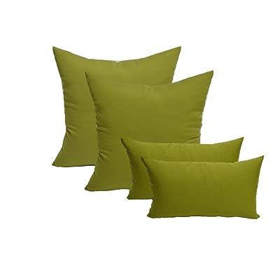 "Resort Spa Home Set of 4 Indoor/Outdoor Pillows - 20"" Square Throw Pillows & 11"" x 19"" Rectangle/Lumbar Decorative Throw Pillows - Solid Kiwi Green Fabric : Garden & Outdoor"