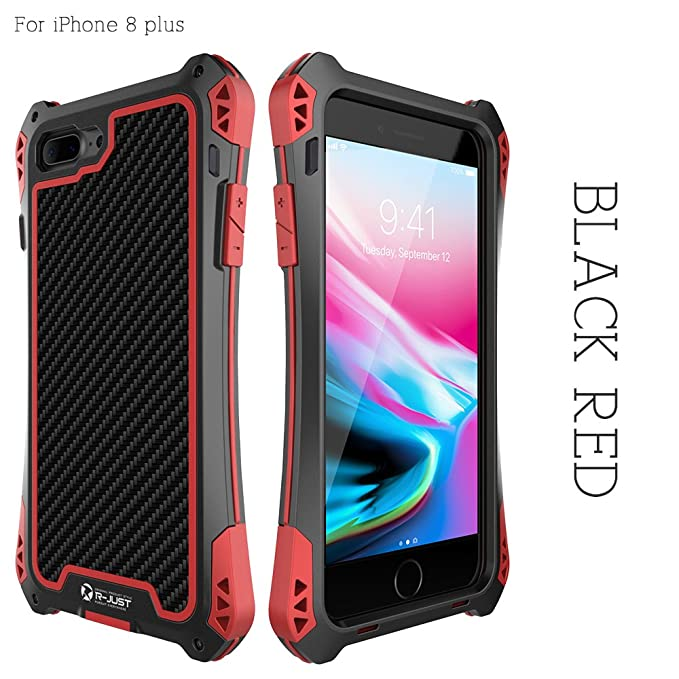 the latest 2bef8 fb45d R-JUST Case for iPhone 8 Plus Extreme Aluminum Premium  Shockproof/Dustproof/Water-resistant Cell Phone Casing Cover Protection  System with Durable ...
