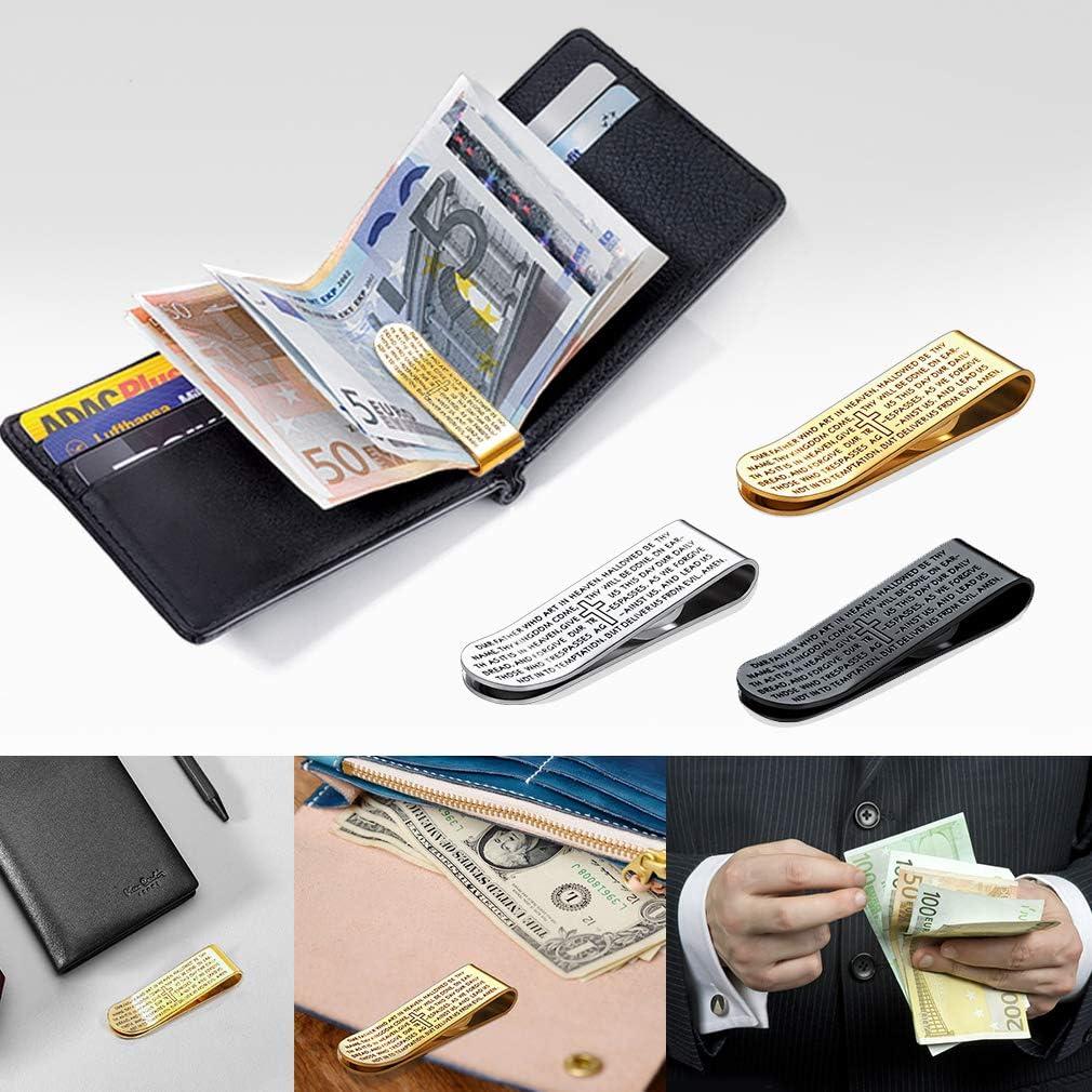 FaithHeart Wallet Cash Clip Bible Verse Prayer Hand Money Clip Card Holder Gold