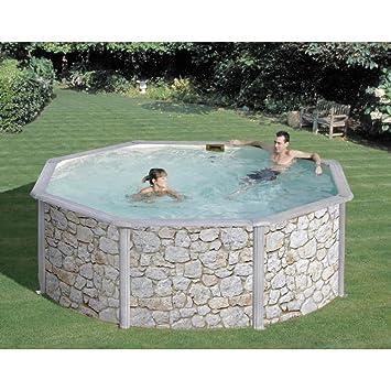 GRE - Piscina acero circular modelo IRAKLION con revestimiento imitación piedra - 460x120: Amazon.es: Jardín