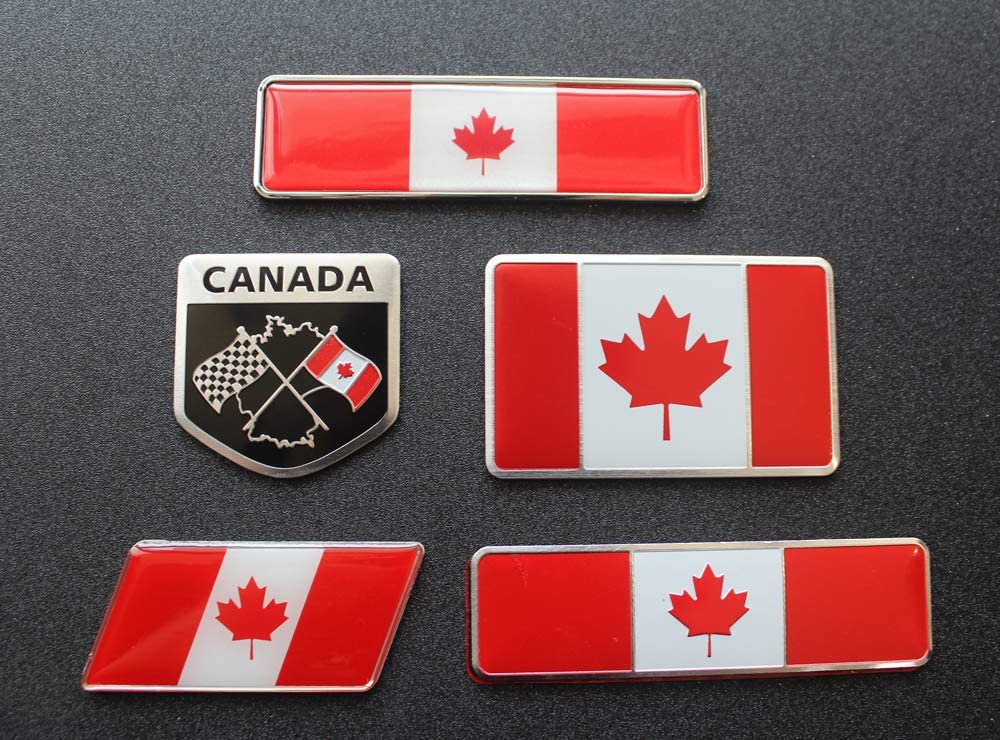 Perfect for Any Vehicle Emblem Made from Aluminum Alloy 5pcs Canada Flag Decal Sticker car Motorcycle RV window Scooter,SUV,Door Truck