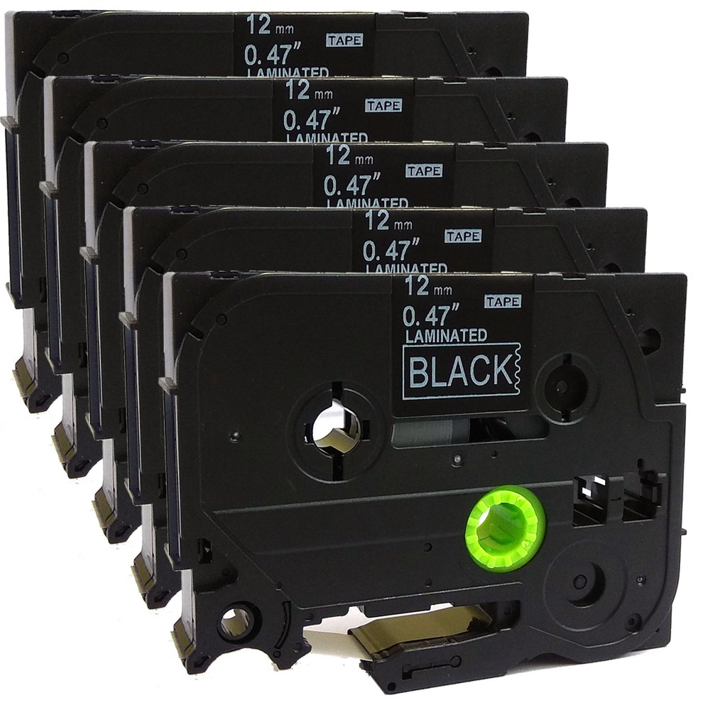 5PK Great Quality Compatible For Brother P-Touch Laminated Tze Tz Label Tape Cartridge 12mmx8m (TZe-335 White on Black)