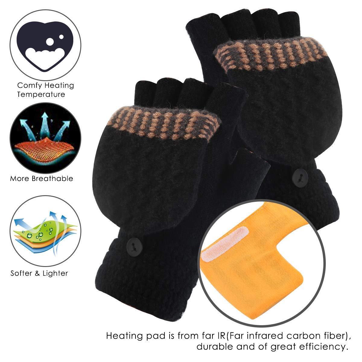 Best Winter Gift Choice Unisex USB Heated Gloves Mitten Winter Warm Hands Knitting Heated Laptop Gloves,Half/&Full Finger Mittens for Women Men Girls Boys Large Size Grey