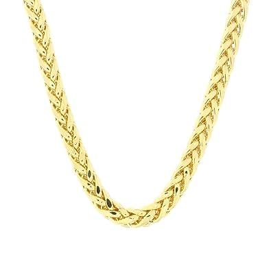3602f08899fe Amazon.com  Beauniq 14k Yellow Gold Lightweight Diamond Cut Spiga Wheat Chain  Necklace