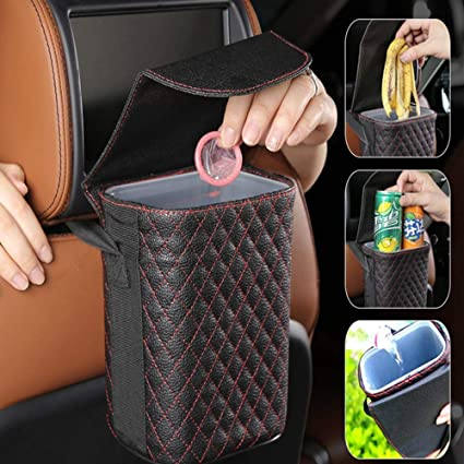 Car Bin Car Seat Back Trash Holder Hang Litter Bag Garbage Storage Rubbish Container Oxford Cloth Car Waste Bins Cleaning Tools Color Name : Blue