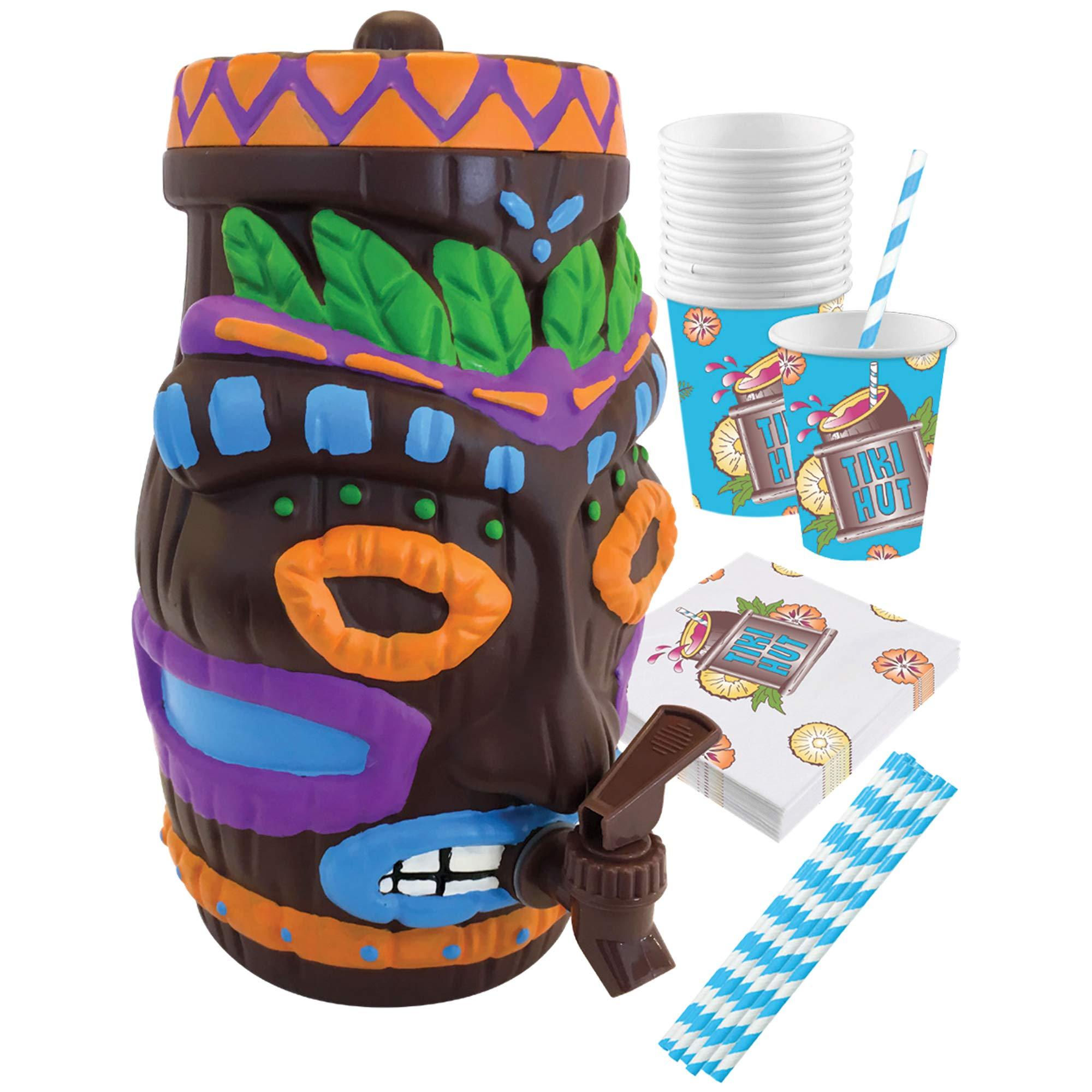 Island Genius Plastic Tiki Drink Dispenser Party Pack, Hawaiian Luau Party Decoration Supplies