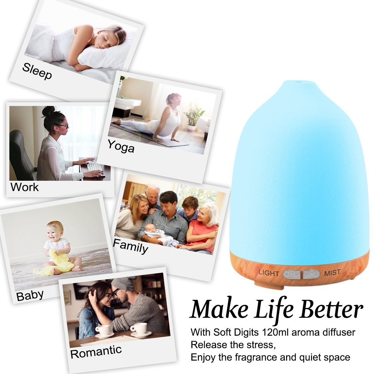 Essential Oil Diffuser, Soft Digits 120ml Wood Grain Ultrasonic Aroma Diffuser Aromatherapy Diffuser, Cool Mist Humidifier with Auto Shut Off, 7 LED Colors Changing and Adjustable Mist Mode - 2 Pack by Soft digits (Image #8)