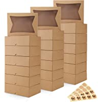 """Eupako 8x6x2.5"""" Cookie Boxes with Window, Brown Gift Boxes for Presents, Auto-Popup Gift Box, Kraft Paper Pastry Boxes…"""