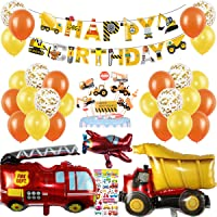 Birthday Decorations Boy Construction Birthday Party Supplies Digger Balloons for 1st 2nd 3rd Boys