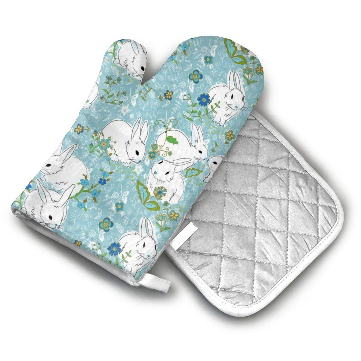 AISDHAJKSD Love Bunny Rabbit Premium Terylene/Nylon Oven Mitts and Pot Mat,Pot Mat/Hot Pads, Heat Resistant Gloves BBQ Kitchen
