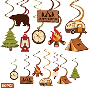 30CT Happy Camper Party Hanging Swirls Decoration Camping Kids Birthday Photo Props Ideas Tent Cutouts Adventure S'more Whirls Signs Baby Shower Favor Supplies