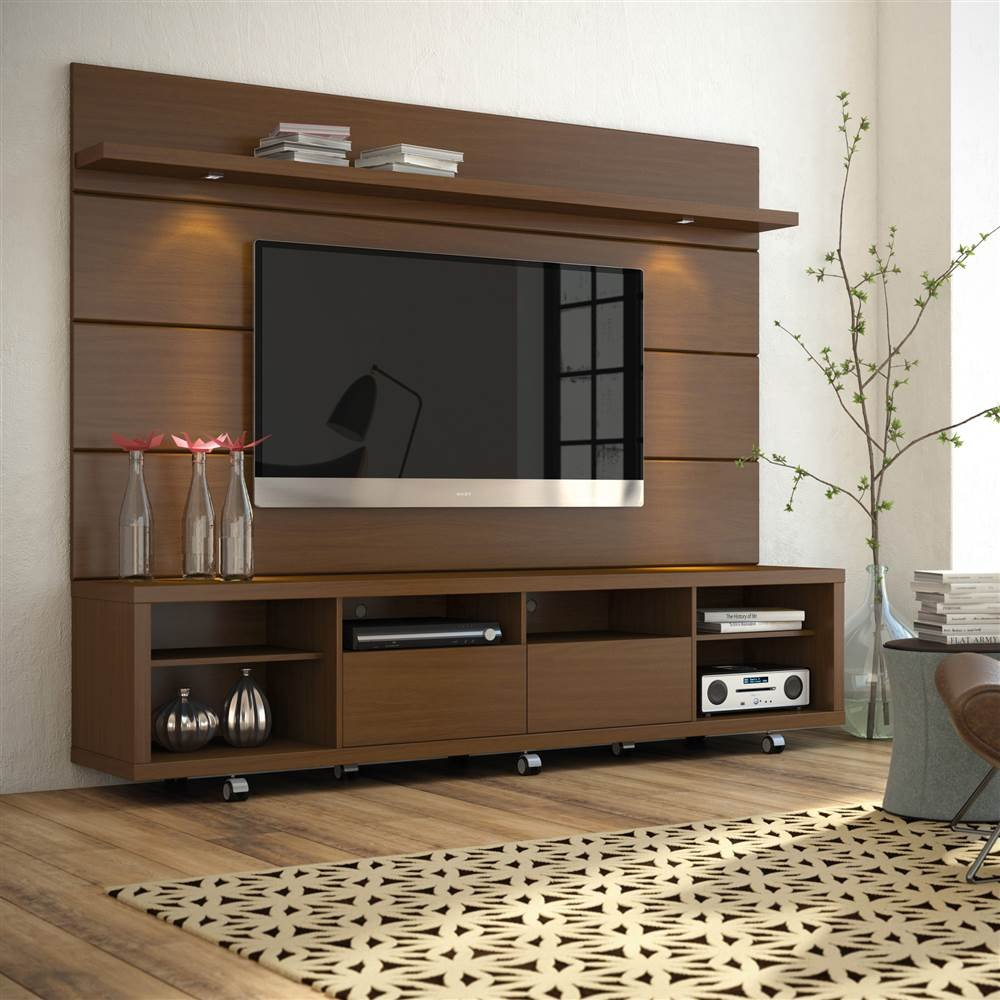 Manhattan Comforts 2-1537282351-MC Cabrini Stand and Floating Wall TV Panel 2.2, 85.8Lx17.5Wx73H, Nut Brown by Manhattan Comforts