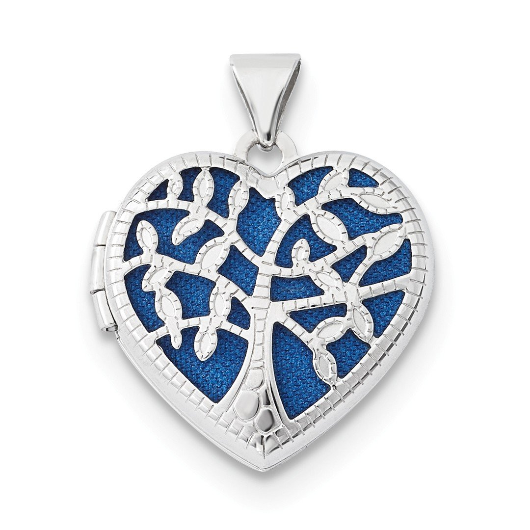 ICE CARATS 14k White Gold 18mm Heart Tree Photo Pendant Charm Locket Chain Necklace That Holds Pictures Fine Jewelry Gift Set For Women Heart
