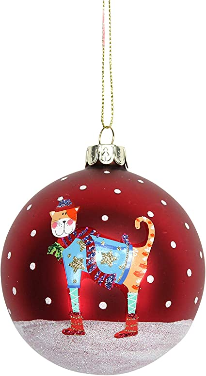 GISELA GRAHAM CHRISTMAS MATT RED GLASS BAUBLE WITH SEQUIN SPIRAL X 3