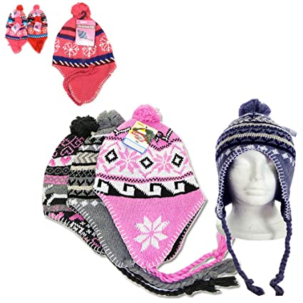 e6fd176c0f070 Image Unavailable. Image not available for. Color  1 Peruvian Winter  Earflap Muff Ski Hat Skully Beanie Cap Snow Womens ...