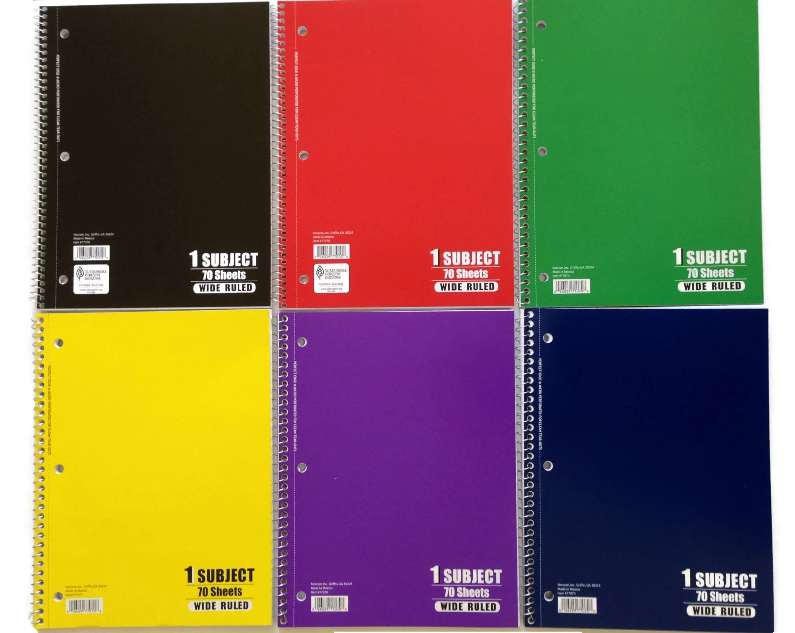 Norcom 1 Subject, Wide Ruled, 70 Sheet Notebooks (6 Pack Of Various Colors)
