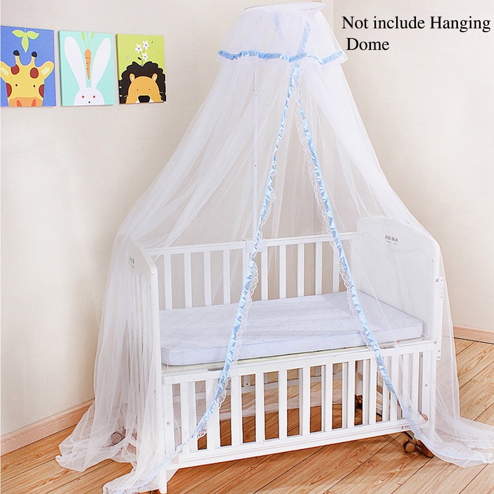 Mosquito Netting for Baby, Crib Canopy Bed Cover with White Mesh Playpen, Dome Princess Bassinet Net Play Tent Bedding for Kids & Protect Toddler Safety, Suitable Most Cribs (Not Hanging Dome) - Blue