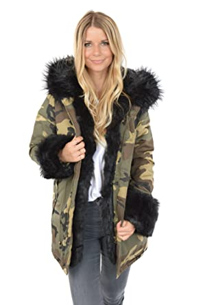 meilleure sélection 86cbb a7942 Freshlions Parka Camouflage en Fourrure pour Femme - Manteau ...