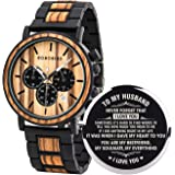 BOBO BIRD Mens Personalized Engraved Wooden Watches, Stylish Wood & Stainless Steel Combined Quartz Casual Wristwatches for M