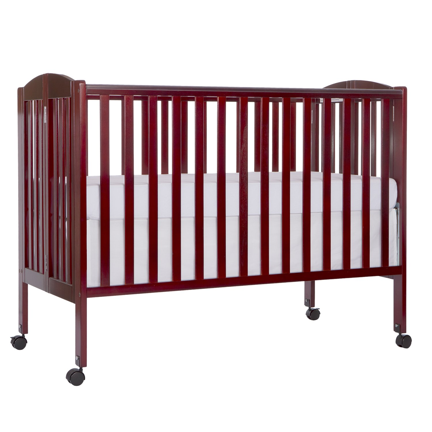 Amazon.com : Dream On Me Full Size 2 In 1 Folding Stationary Side Crib,  Cherry : Portable Wood Crib : Baby