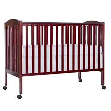 Dream On Me Full Size 2 In 1 Folding Stationary Side Crib, Cherry