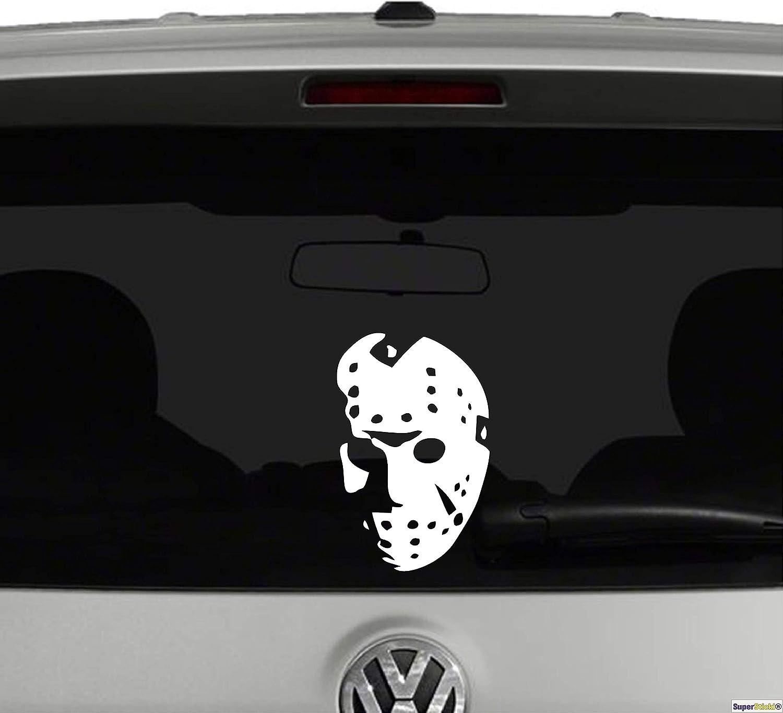 SUPERSTICKI/® Jason Hockey Maske Horror ca 20 cm Aufkleber Sticker Decal aus Hochleistungsfolie Aufkleber Autoaufkleber Tuningaufkleber Racingaufkleber Rennaufkleber Hochleistung