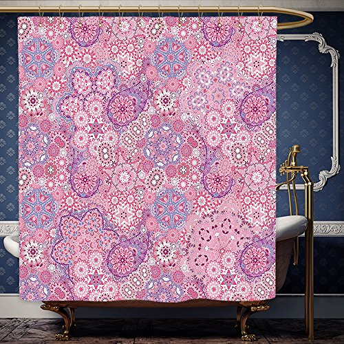 Wanranhome Custom-made shower curtain Mauve Decor Ethnic Indian Bohemian Paisley Pattern Eastern Culture Floral Folk Design Dried Rose Pink For Bathroom Decoration 60 x 72 inches
