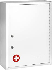 AdirMed Large Dual-Lock Medicine Cabinet – Wall Mounted & Secure Steel Medicine Pills & First Aid Kit & Emeergency Kit Box with Locks for Home Office & School Use (White)…