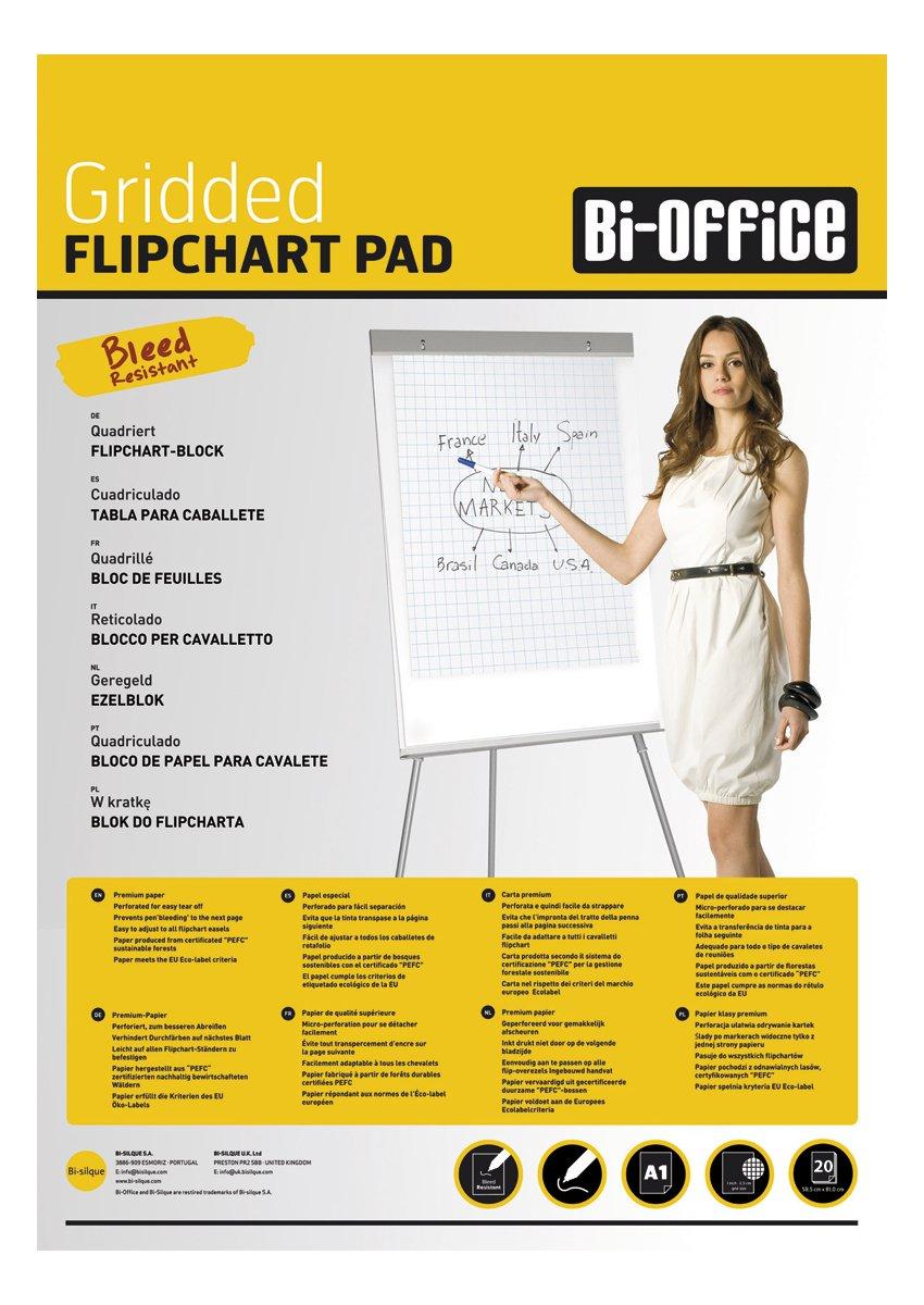 Bi-Office Blocco Per Lavagna di Carta A1, A Quadretti, 20 Fogli per Blocco, Lato Superiore Perforato, 70 g/mq, Conf. da 5 Bi-Silque FL0117303