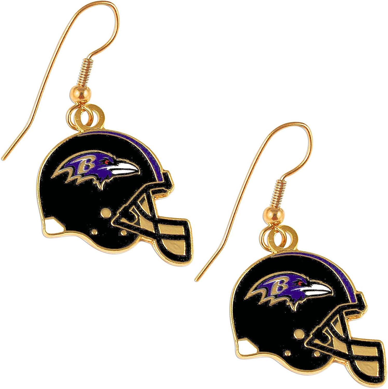 Sports Team Baltimore Ravens J Hook Dangle Logo Earring Set