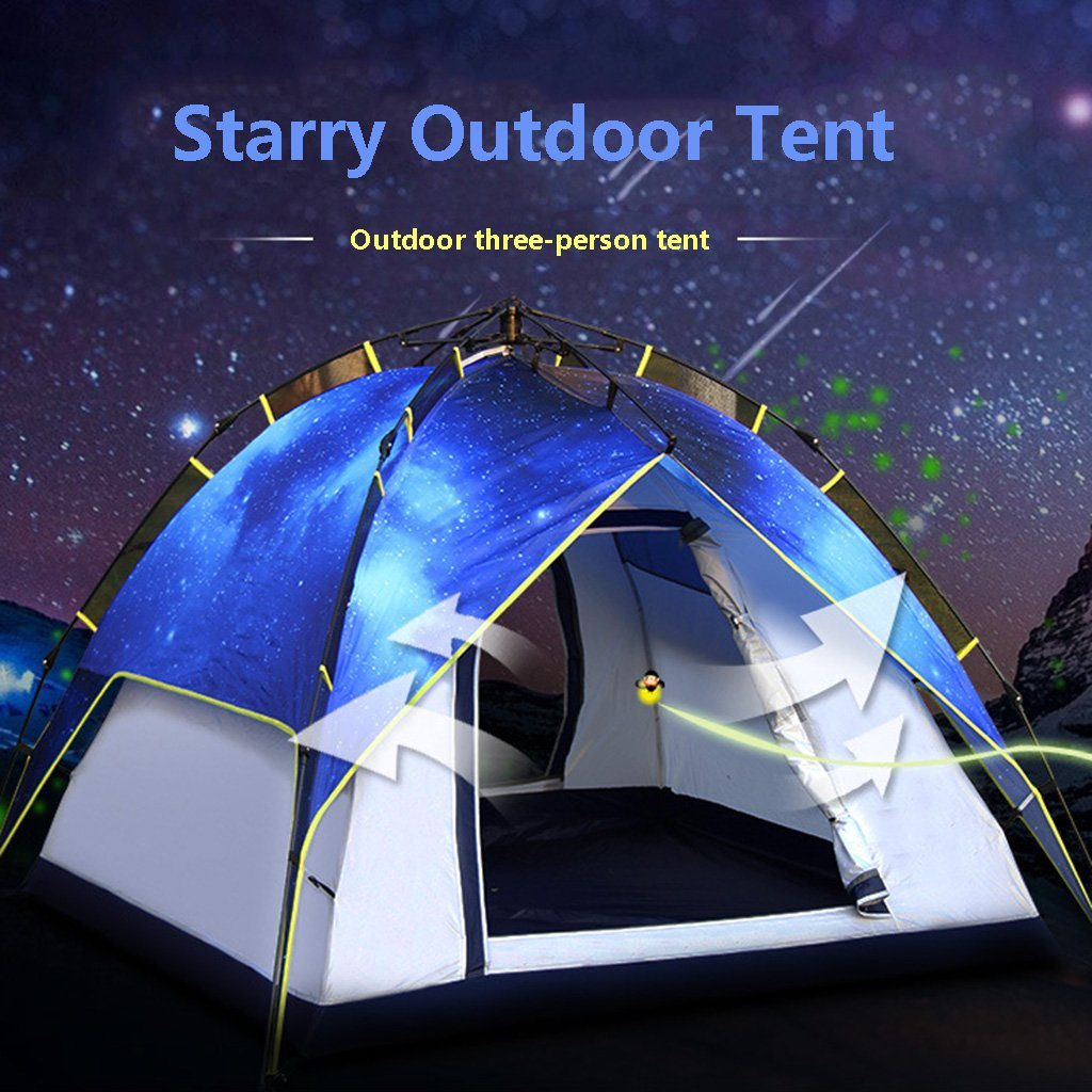 JIBO Outdoor-Zelt Doppel-Drei-Sterne-Himmel Abschnitt Automatische Geschwindigkeit Offen Innen und Außen Konten Können Zelt Getrennt Werden