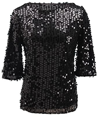 7f74591bbb682 Womens Shimmer Glam Glitter Sequin Embellished Sparkle Blouse Top Shirt  Black 4