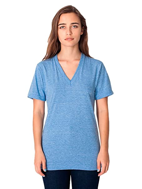 67513f3cd American Apparel Unisex Tri-Blend Short Sleeve V-Neck - Athletic Blue - XX
